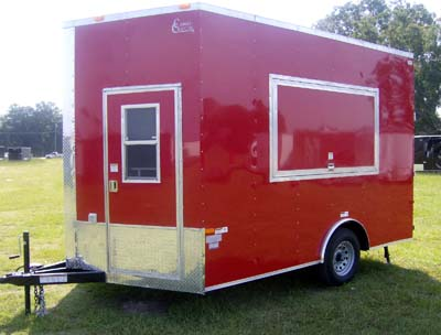 Concession Trailer red Single axle